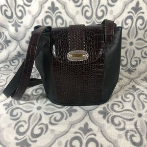 Women's black and brown pebble leather purse